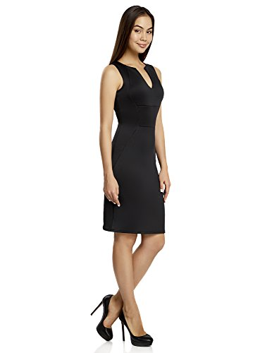 oodji Collection Donna Abito Aderente in Cotone Nero (2900N)
