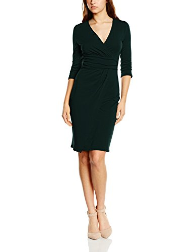 HotSquash Damen Kleid Ascot Mock-Wrap, grün (Bottle Green), 40 (Herstellergröße: 12) (Wrap Damen Mock)