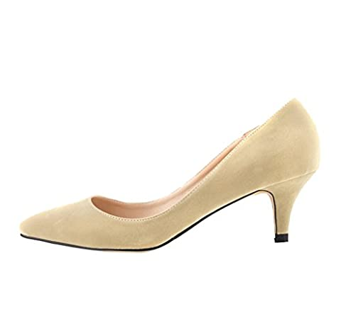 Katypeny Women's Vintage Shallow Mouth Slip On Pointed Toe Stiletto Mid Heel Pump Shoes Beige Suede Leather EU Size
