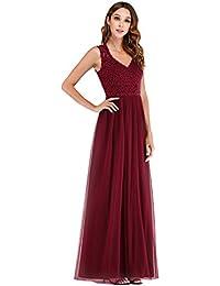 06fba55baa0 Ever-Pretty Col V Robe de Soirée Longue Femme en Dentelle A-Line 07509