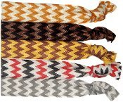 5pc Hair Bands, Pony Tail Holder, Hair Ties, Hairties Bracelet Hair Ties, Hair Ties Wristlet Chevron, Brown, Black, Gold And Red.