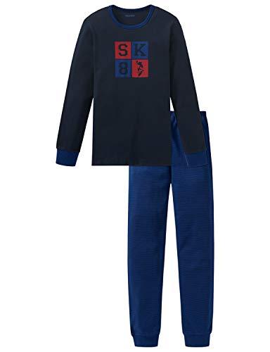 Schiesser Jungen Anzug lang Zweiteiliger Schlafanzug, Blau (Nachtblau 804), (Herstellergröße: 176)