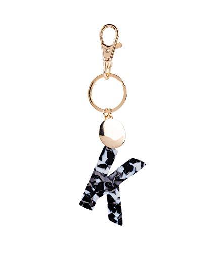SIX Damen Schlüsselanhänger, Anhänger, Buchstaben, Initialien, K, Kreis, Karabiner, Marmor, Gold, weiß, schwarz (223-976) (Claires Zubehör Halloween)