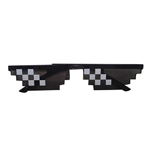 Huhu833 New Mode 8 Bit Pixel Sonnenbrille Unisex Sonnenbrille Reise Sonnenbrille (Schwarz 2)