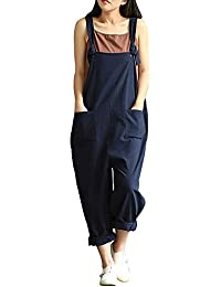 798a5fe3835 Sobrisah Women s Linen Overalls Baggy Adjustable Strap Sleeveless Jumpsuits  Casual Loose Wide Leg Dungarees Rompers