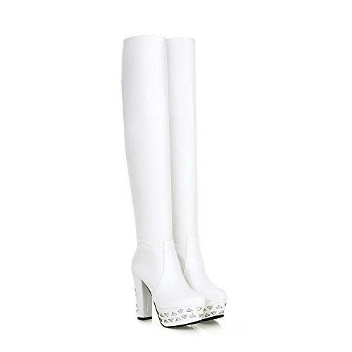 AllhqFashion Damen Rund Zehe Rein Hoch-Spitze Hoher Absatz Stiefel mit Paillette Weiß