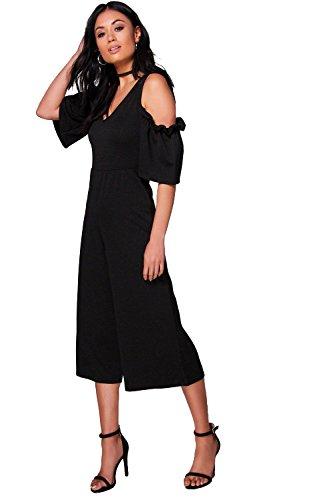 Noir Femmes Erin Ruffle Cold Shoulder Tailored Jumpsuit Noir