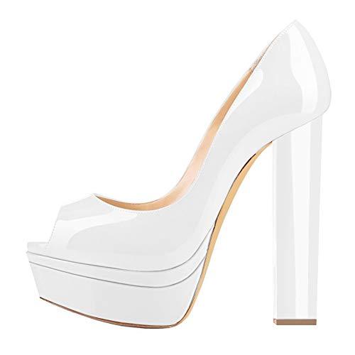 Onlymaker Frauen Pumps Peeptoe Plateau Blockabsatz Slip On Chunky High Heels Damenmode Lack Weiß 38 EU Super Platform High Heel Schuh