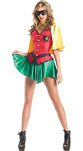 3 Stück Sexy Robin Qualität Kostüm Kleid,l Cape und Maske Größe 36-38