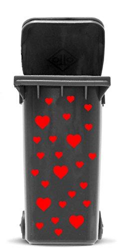 *Domus House Signs Mülltonnen Aufkleber Set: Herzen – 37 Herzaufkleber in Zwei Größen (4X 5cm und 32x 2,5cm) zum Dekorieren Ihrer Mülltonne, Auto, Kindenzimmer, Schriftfarbe:Silber*