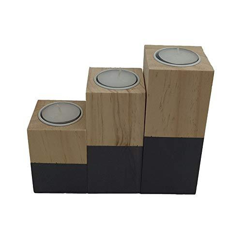 Z3Z Moderne Holz Leuchter Platz Pine Kerzenständer Handgefertigt Geeignet für Zu Hause 3-teiliges Set