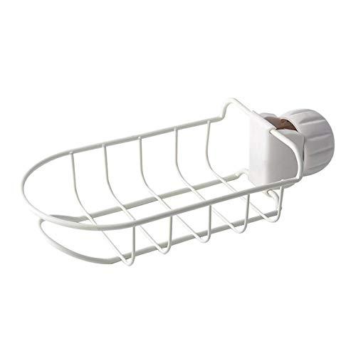 Drainer Kitchen Sponge Holder, Rack Dish Sink, Faucet Storage Bathroom Drain Organizer, Sink Caddy Organizer Stainless Steel Holder Dishwashing Liquid Drainer Rack Bottle Brush Storage(White) Dish Caddy