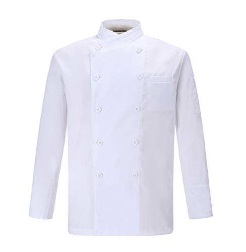 Nanxson Herren Kochjacke Bäckerjacke Weiß Langarm Atmungsaktiv Küche Uniform Arbeitskleidung CFM0028
