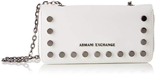 Armani Exchange Damen Stud Chain Wallet Handgelenkstasche, Weiß (White), 10.5x3x19 cm