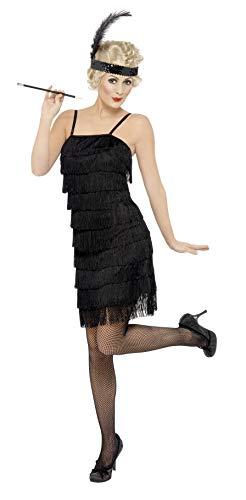Fringe Flapper Kostüm Kleid - Smiffys, Damen Fringe Flapper Kostüm, Kleid und Stirnband mit Feder, Größe: M, 33451
