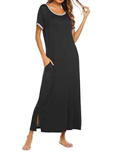 Teaio Nachtkkleid Damen Baumwolle Lang Nachtkleid für Schwangere Nachtwäsche Baumwolle Kurzarm O-Ausschnitt Locker Sleepwear Lang Hauskleid Blau Schwarz Grau