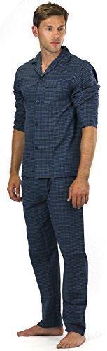 Conjunto de pijama de rayas / cuadros de polialgodón para hombre primavera verano ropa de dormir, manga larga con botones camisa & pantalón noche