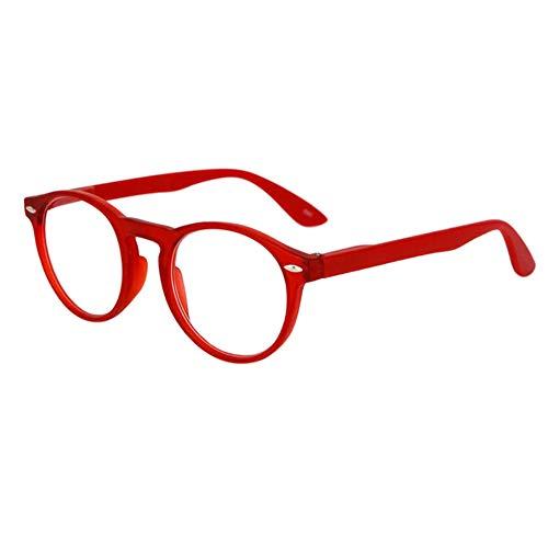 Inlefen Retro Runde Lesebrille für Männer und Frauen Mode Brille zum Lesen (rot +1.5)