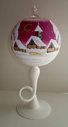 Unbekannt Windlicht Glas Lila Teelicht Dekoration Schnee Weihnachten Geschenk Windlicht Dorf Sterne