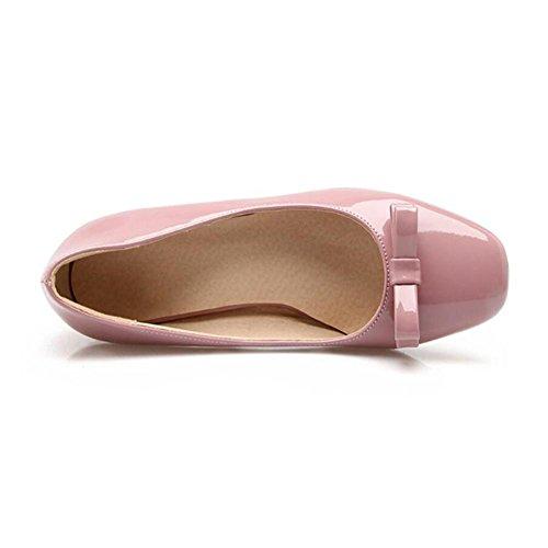 Lemon&T Women Spring solide cuir verni couleur haut de gamme Square-toe de antidérapante en caoutchouc Sole 6cm haut Chunky Chaussures Talons pink