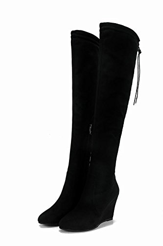 Mee Shoes Damen Keilabsatz langschaft Nubuck Stiefel Schwarz