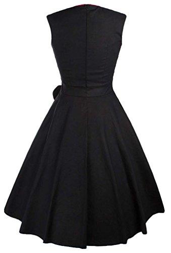 Eudolah Robe vintage patineuse sans manche avec un noeud robe de cocktail Femme Noir