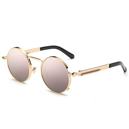 MINGMOU Schwarze Metall Kleine Runde Sonnenbrille Vintage Punk Herren Damen Nerd Brille Klare Linse Brillen Unisex Rotgold