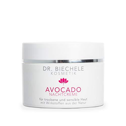 Dr. Biechele Avocado Nachtcreme I 50 ml Feuchtigkeitscreme für trockene Haut I Reichhaltige Gesichtscreme aus Avocado-Öl, Mandelöl, Dexpanthenol, Vitamin C + E I Kosmetik für sensible Haut