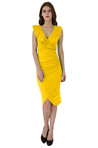 YMING Damen Bleistiftkleid Bodycon Volant Kleid V-Ausschnitt Stretchkleid Rüsche Kleid,Gelb,S/DE 36-38 - Kleider Gelb Damen