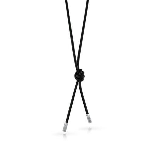 Bling-Jewelry-925-Sterling-Silber-Schwarzes-Leder-Lariat-Halskette-27in