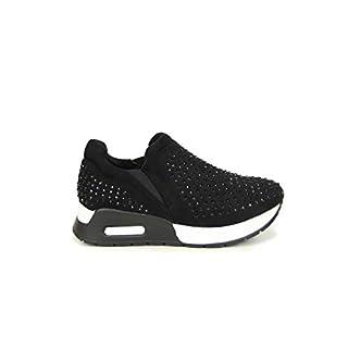 Frentree Turnschuhe Damen Slip On mit Strass, Farbe:schwarz, Größe:38