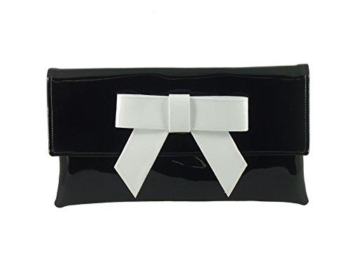 38ff95b340265 LONI Damen Clutch Abend Hochzeit Tasche in Lack Kunstleder mit Schleife in  Schwarz Black with White