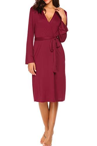 ADOME Morgenmantel Baumwolle mit Bindegürtel Bademantel Sommer Frauen Robe Saunamantel weich V Ausschnitt schlafmantel Pyjama Kimono