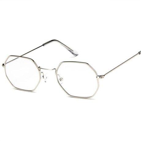 Ggssyy occhiali da sole esagonali donna uomo occhiali classici da vistaocchiali da vista vintage a specchio firmati dal brand, argento