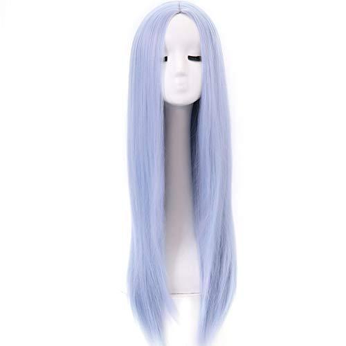 Aysan Peluca de pelo largo y recto para mujer, color azul claro, peluca sintética de cabeza completa...