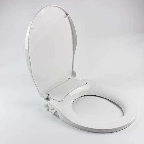 Bidet WC Sitz Kunststoff Toilettensitz Verstellbar Toilettendeckel V-Form Klobrille Absenkautomatik Klodeckel WC-Schüsseln mit Doppeldüsensprüher -