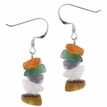 Sterling Silver Genuine Tiger Eye Carnelian Rose Quartz Amethyst and Green Dyed Jade Chip Earrings