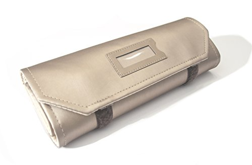Joyero-enrollable-Massano-1981-en-cuero-ecologico-bronce-satinado-100-fabricado-a-mano-en-Italia
