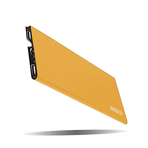Krekco powerbank 12000mah ultrasottile batteria esterna portatile 2 porte usb led lighting caricabatterie cellulare compatibile con tutti genere cellulari & tablet pc, dispositivi intelligenti