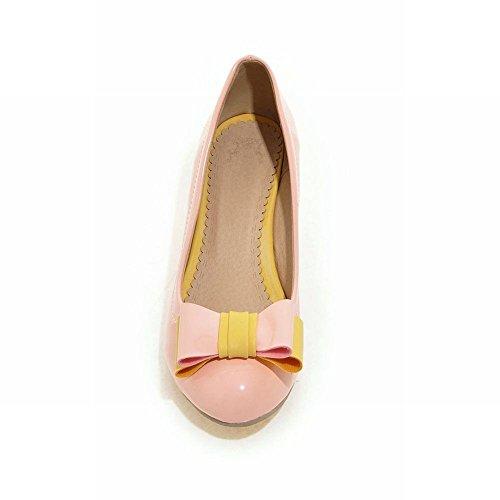 Mee Shoes Damen modern süß bequem Lackleder Keilabsatz runder toe Geschlossen mit Schleife Pumps Pink