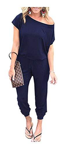 Caracilia Jumpsuit Damen Sommer Blau Langarm gestreift Overall Strampler mit Taschen Kurze Hose Strampler Spielanzug Cxie-zangqing-XL CYJ02