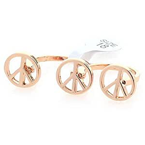 Trois signes de paix pacifiste Double bague (couleur aléatoire)