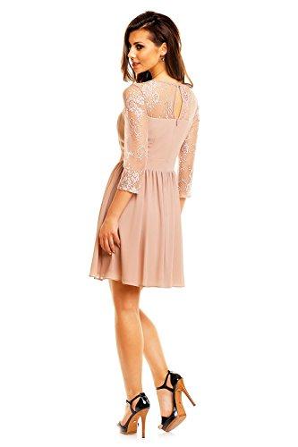 elegantes Abendkleid Cocktailkleid mit bestickter Spitze Chiffon Kleid Hell Braun