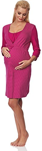 Be Mammy Vêtements Maternité Chemises de Nuit Galla Pois/Violet
