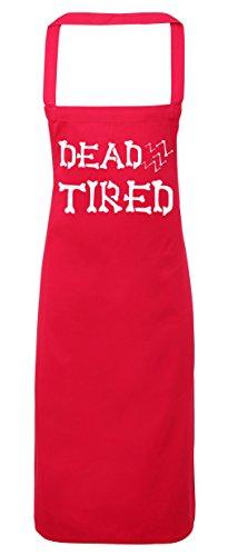hippowarehouse Dead Müde Knochen Schriftart Schürze Küche Kochen Malerei DIY Einheitsgröße Erwachsene, fuchsia pink, (Kostüme Crimson Damen)