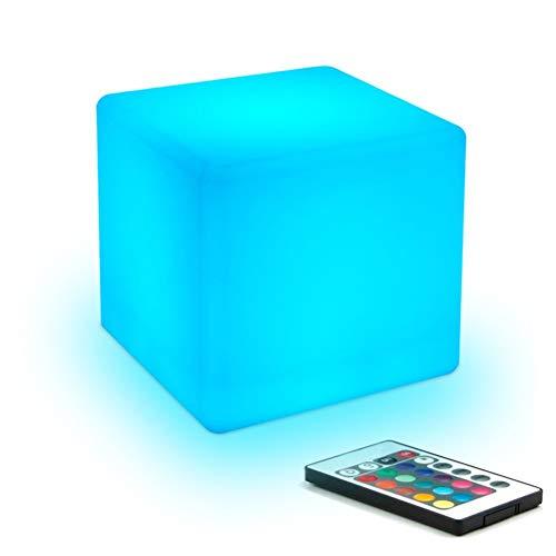LHJCN LED Cube,stimmungslichter LED Nachtlicht Kind mit Wiederaufladbare Batterie und Fernbedienung, Farbwechsel LEDWürfel-Licht Stimmungslicht Kinder-Lampe Tischlampe mit 16 RGB-Farben
