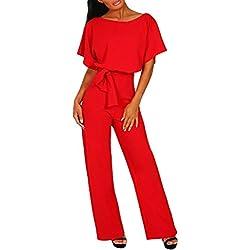 Combinaison Femme, Honestyi Dame Mousseline Soie Manches Courtes Clubwear Combi Bodycon Parti Combinaison Barboteuse Salopettes Femme Rompers Collants Fille Jumpsuit Casual Bodysuit (L, 2-Rouge)