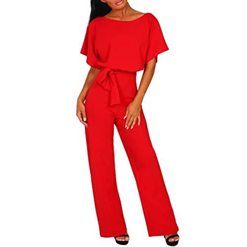 Combinaison Femme, Honestyi Dame Mousseline Soie Manches Courtes Clubwear Combi Bodycon Parti Combinaison Barboteuse Salopettes Femme Rompers Collants Fille Jumpsuit Casual Bodysuit  (XL, 2-Rouge)