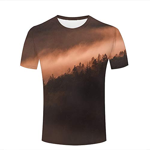 Eurapping Herren Tshirts Fashion 3D Print Graphic Jungle Mountain Mist Unisex Tees XXXL
