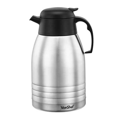 VonShef Termo de Vacío de 2 Litros con Doble Aislamiento en Acero Inoxidable – para té, café, bebidas calientes y frías